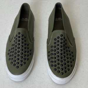 CAMO LEATHER SLIP ON SHOES BY COACH